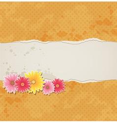 Orange vintage background with flowers vector
