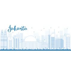 Outline Jakarta skyline with blue landmarks vector image