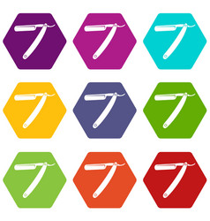 razor blade icon set color hexahedron vector image
