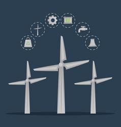Renewable energy from wind turbines vector