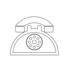 Retro telephone sign black dotted icon on vector