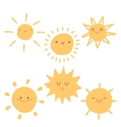 Set of cute hand-drawn sun icons vector image