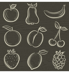 set of fruits fruit applepear banana orange plum vector image