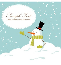 Snowman card blue vector image vector image