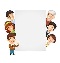 Teachers presenting empty vertical banner vector