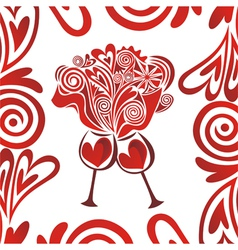 Valentines day card hearts glasses of wine vector