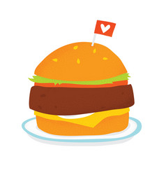 Vegan burger on a plate isolated vector