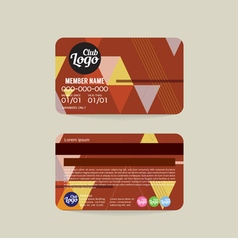 Front and back member card template vector