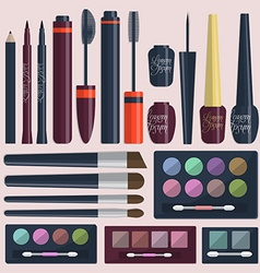Large collection of womens cosmetics for the eyes vector