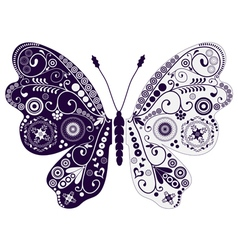 Vintage two-tone butterfly over white vector