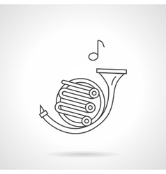 French horn flat line icon vector
