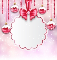 Christmas silver glassy balls with clean card with vector
