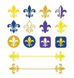 Fleur de lis - french symbol gold and navy blue vector