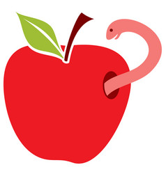 Worm in red apple vector