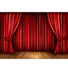 Background with red velvet curtain and a wooden vector image