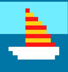 Ship yacht boat pixel art cartoon retro game style vector