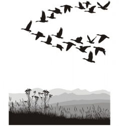 Migrating geese vector