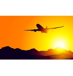 Aeroplane and sunset on mountains vector