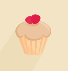 Sweet cupcake on pastel background vector image