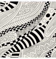 Abstract zentangle doodle waves seamless pattern vector