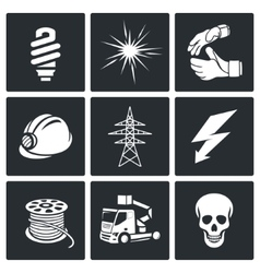 Electrical company icons set vector