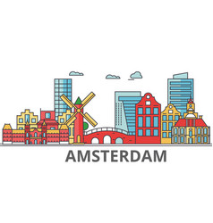 amsterdam city skyline buildings streets vector image