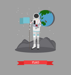 Astronaut with flag in flat vector