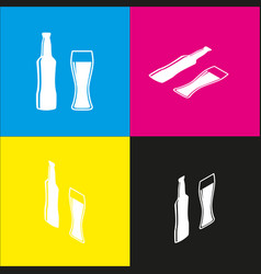 Beer bottle sign white icon with vector
