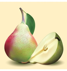 Big realistic pear with green leaves and half pear vector image