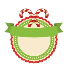 Circle christmas label icon flat with candy cane vector