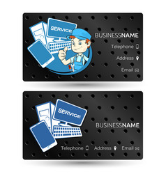 computer hardware repair business card vector image vector image