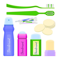 deodorant icons and toothbrushes with sponges vector image