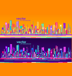 futuristic city skylines at day and night vector image vector image