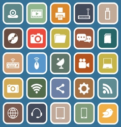 Hi tech flat icons on blue background vector image vector image