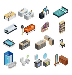 Interior isometric objects set vector