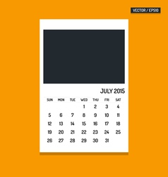 July 2015 calendar vector image vector image