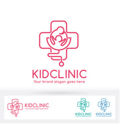 kid clinic logo parent and child in cross symbol vector image