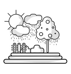 Line counds raining with tree and grid wool vector