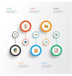 Music flat icons set collection of broadcasting vector