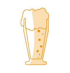 Orange silhouette shading cartoon foamy beer glass vector