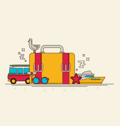 Retro banner of travel summer in the flat style vector