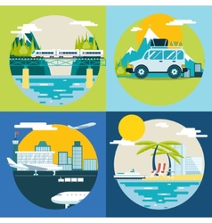 Retro Planning Summer Vacation Tourism and Journey vector image vector image