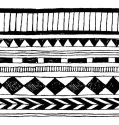 Seamless hand-draw tribal ink pattern vector image vector image