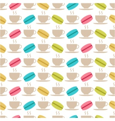 Seamless pattern of macaroons and tea vector