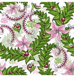 Seamless spring floral vivid pattern vector image