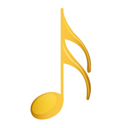 Semiquaver note in golden with background white vector