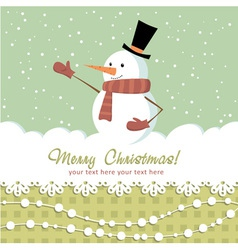 Snowman card green vector
