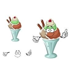 Sundae ice cream with cherry and waffle vector image