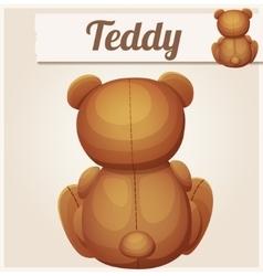 Teddy bear sits back Cartoon vector image vector image