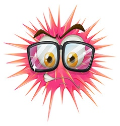 Thorny ball wearing eyeglasses vector
